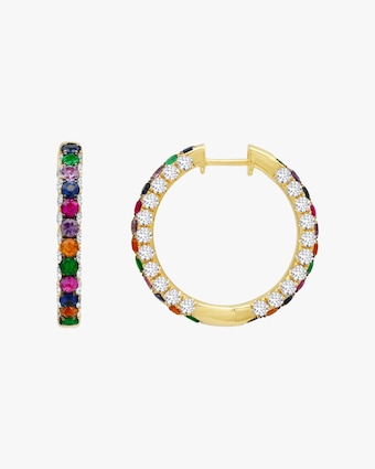 Graziela Gems Rainbow Gem & Diamond Three-Sided Hoop Earrings 1