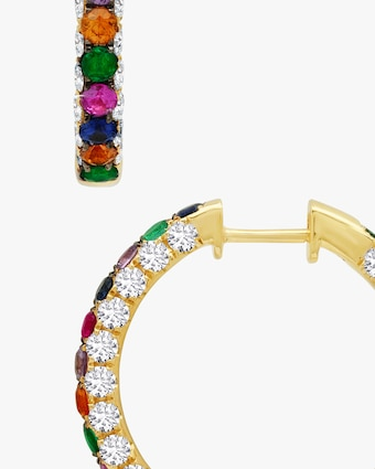 Graziela Gems Rainbow Gem & Diamond Three-Sided Hoop Earrings 2