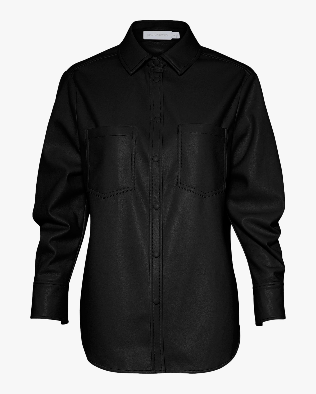 Jonathan Simkhai STANDARD Ryder Faux Leather Pleated-Sleeve Shirt 1