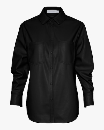Jonathan Simkhai STANDARD Ryder Faux Leather Pleated-Sleeve Shirt 1