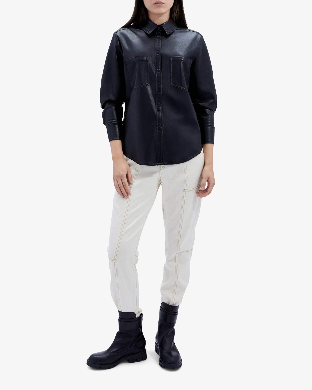 Jonathan Simkhai STANDARD Ryder Faux Leather Pleated-Sleeve Shirt 2