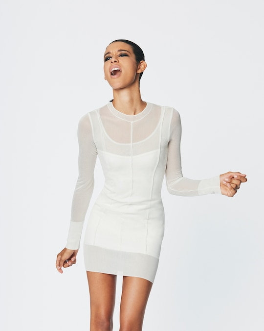 Herve Leger Layered Crewneck Dress 1