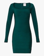 Herve Leger Long-Sleeve Square-Neck Mini Dress 0