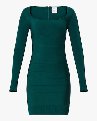 Herve Leger Long-Sleeve Square Neck Mini Dress 1