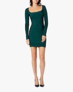 Herve Leger Long-Sleeve Square-Neck Mini Dress 2