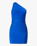 Herve Leger One-Shoulder Asymmetrical Mini Dress 0