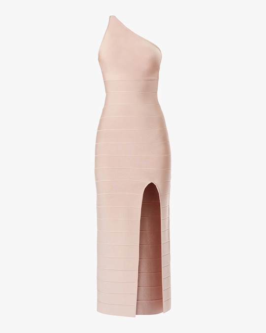 Herve Leger Asymmetrical One-Shoulder Midi Dress 0