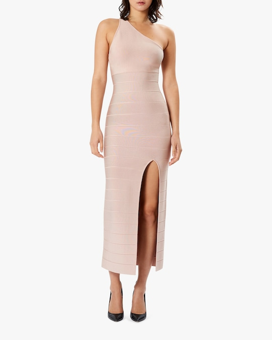 Herve Leger Asymmetrical One-Shoulder Midi Dress 1