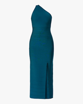 Herve Leger Asymmetrical One-Shoulder Midi Gown 1