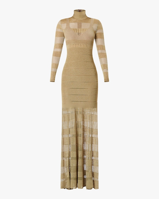 Herve Leger Metallic Sheer-Stitch Gown 0