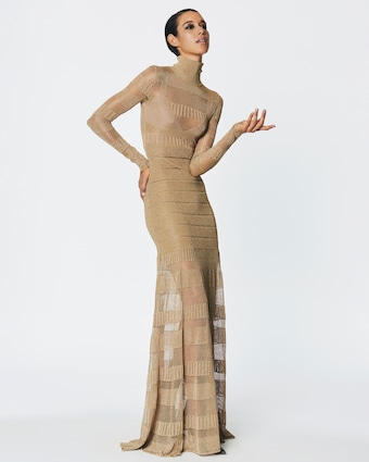 Herve Leger Metallic Sheer-Stitch Gown 2