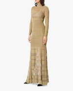 Herve Leger Metallic Sheer-Stitch Gown 3