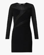 Herve Leger Opaque & Sheer Long-Sleeve Dress 0
