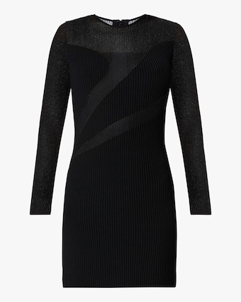 Herve Leger Opaque & Sheer Long-Sleeve Dress 1