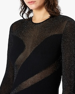 Herve Leger Opaque & Sheer Long-Sleeve Dress 5