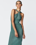 Herve Leger Draped Halter Gown 1