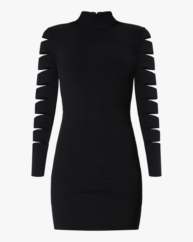 Herve Leger Cutout Long-Sleeve Mini Dress 0