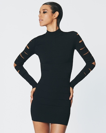 Herve Leger Cutout Long Sleeve Mini Dress 2