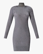 Herve Leger Metallic Ribbed Strong Shoulder Mini Dress 0