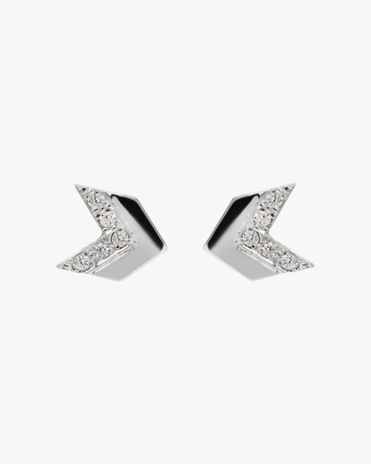 Jac + Jo White Sapphire Arrow Tail Stud Earrings 0