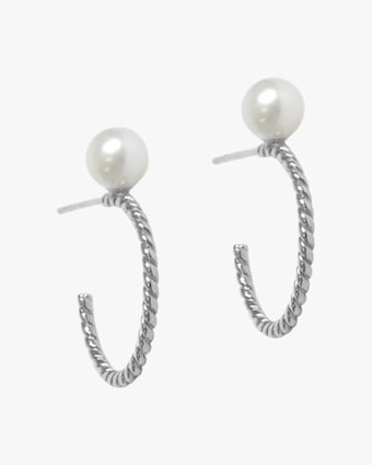 Jac + Jo Silver & Pearl Twisted Hoop Earrings 1