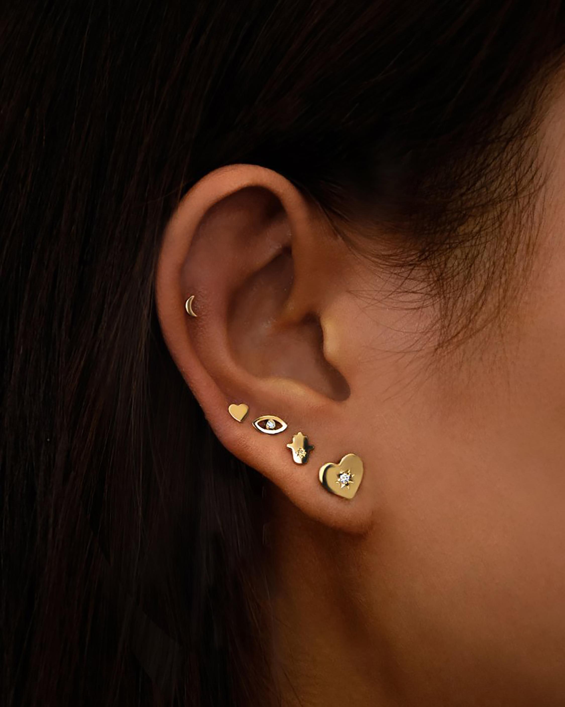 Jac + Jo White Sapphire Heart Stud Earrings 1