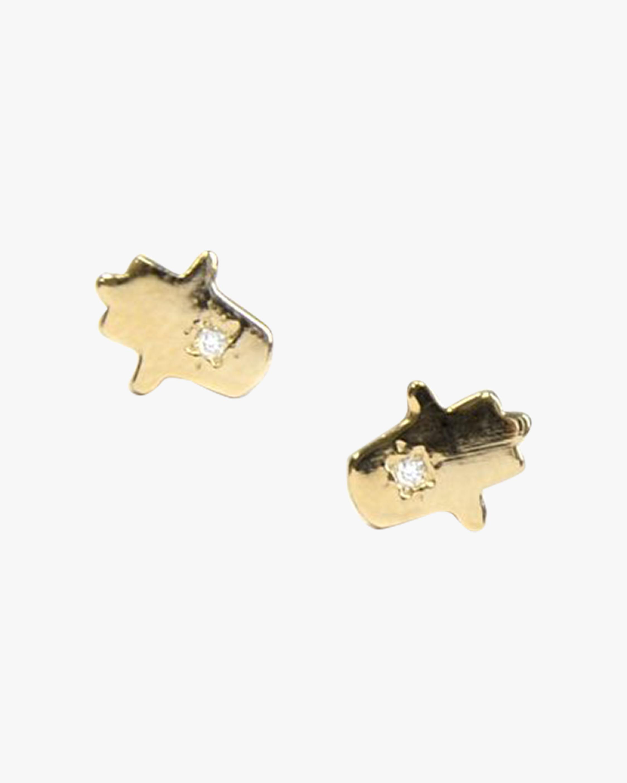 Jac + Jo Diamond Hamsa Stud Earrings 1