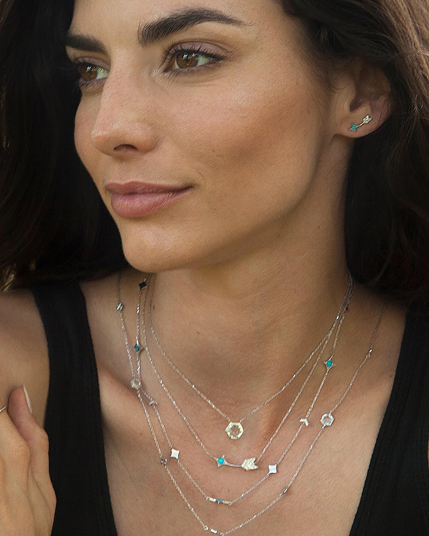 Jac + Jo White Sapphire & Turquoise Arrow Pendant Necklace 1