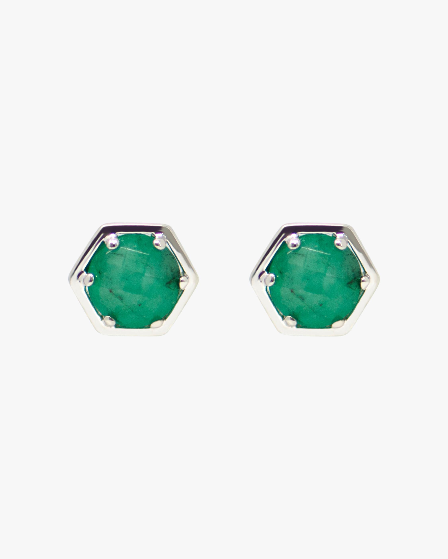 Jac + Jo Emerald Mini Bolt Stud Earrings 1