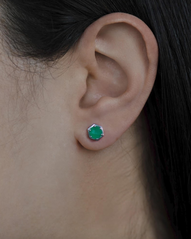 Jac + Jo Emerald Mini Bolt Stud Earrings 2