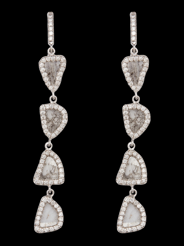 Four Tier Slice Diamond Earrings