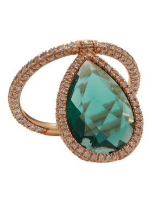 Green Quartz Flip Ring