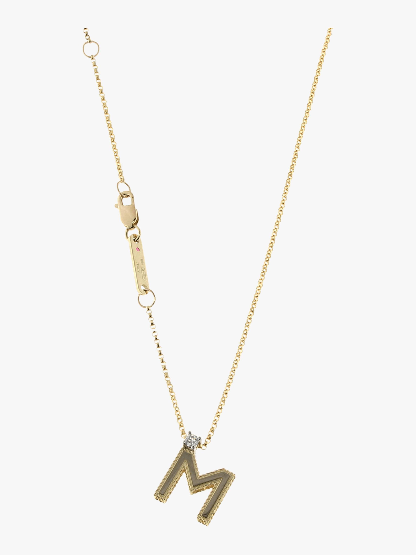 Princess Diamond Letter M Pendant Necklace