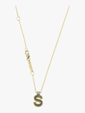 Princess Diamond Letter S Pendant Necklace