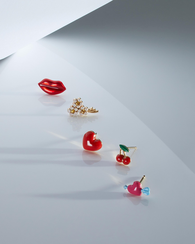 Red Enamel Lip Single Stud Earring