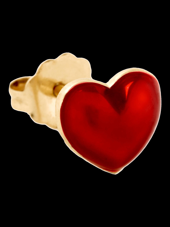 Red Enamel Heart Single Stud Earring
