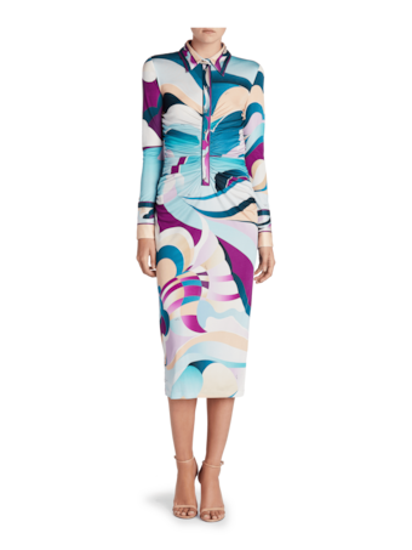 Printed Long Sleeve Midi Dress