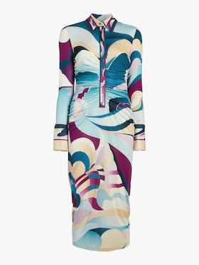 Printed Long Sleeve Midi Dress