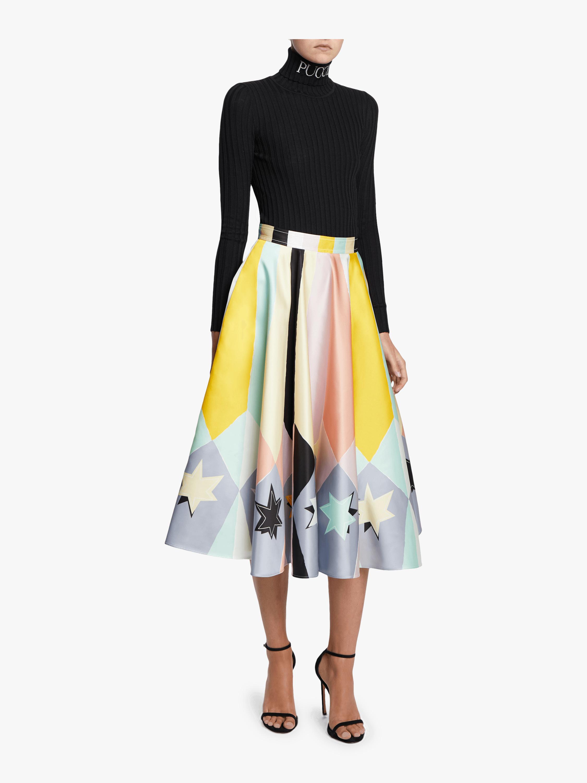 Printed A-Line Tea Length Skirt