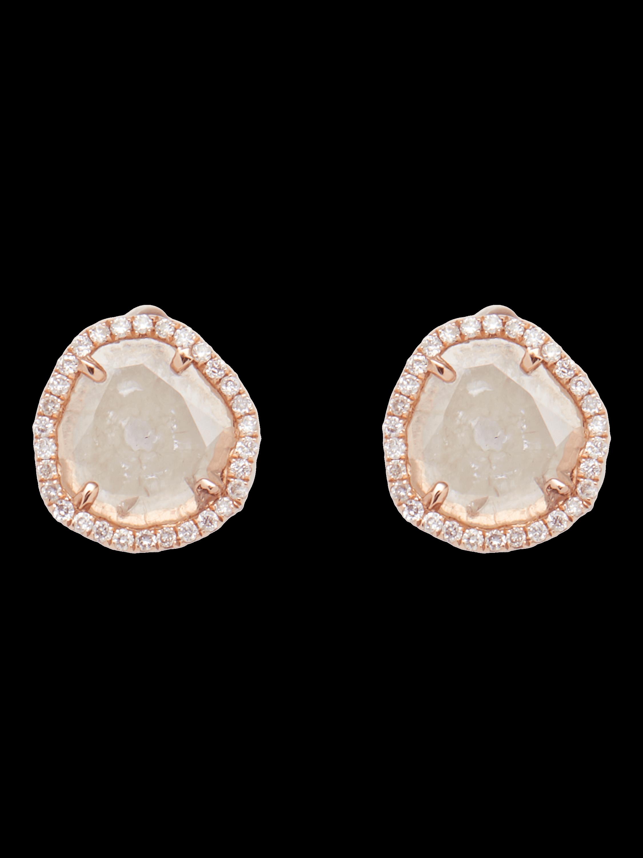 Slice Diamond Gold Stud Earrings