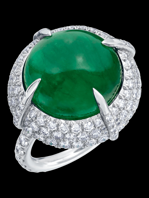 Emerald and Diamond Pavé Ring