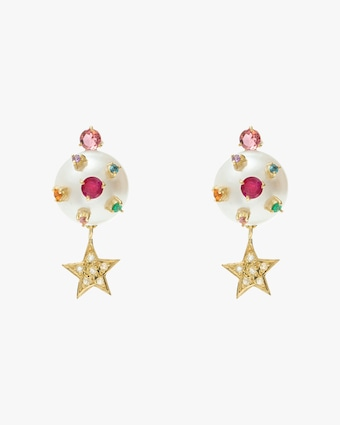 Carolina Neves Pearl Star Drop Earrings 1