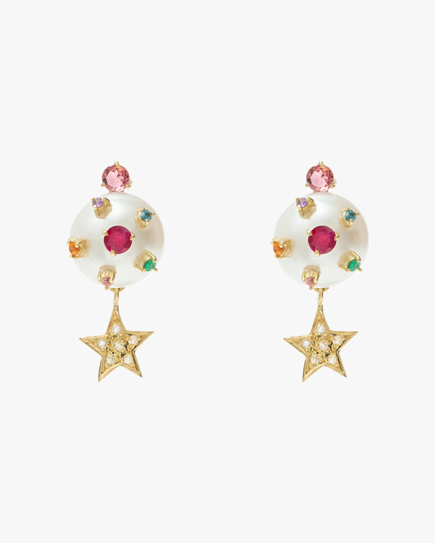 Carolina Neves Pearl Star Drop Earrings 0