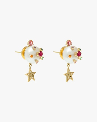 Carolina Neves Pearl Star Drop Earrings 2