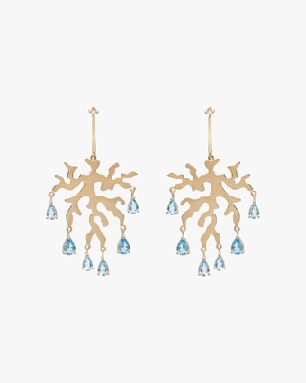 Essere Diamond & Aquamarine Coral Drop Earrings 1