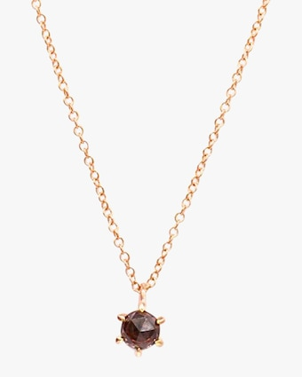 Natalie Marie Tiny Peach Zircon Pendant Necklace 1