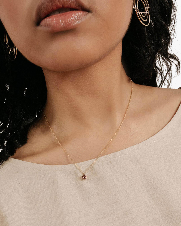 Natalie Marie Tiny Peach Zircon Pendant Necklace 1