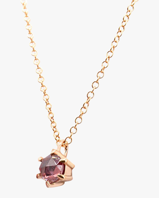 Natalie Marie Tiny Peach Zircon Pendant Necklace 2