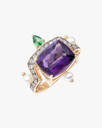 Dorion Soares Amethyst & Emerald Diamond Ring 1
