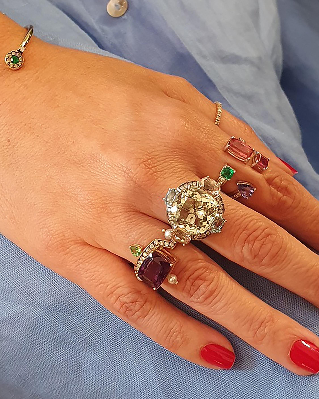 Dorion Soares Amethyst & Emerald Diamond Ring 2